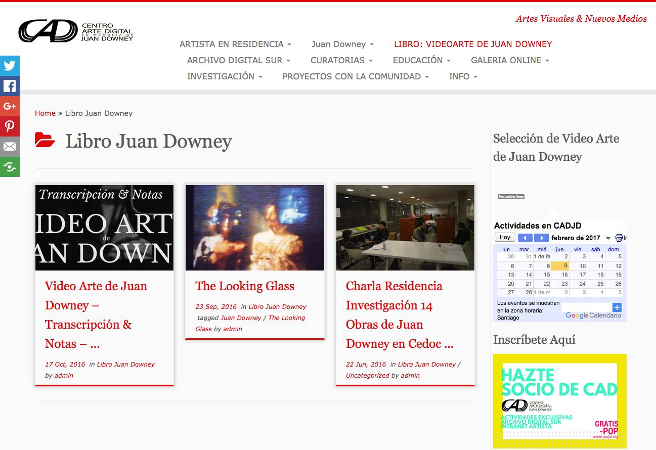Web Centro de Arte Digital en Memoria de Juan Downey